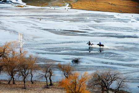 秋の内モンゴル草原の風景 写真素材