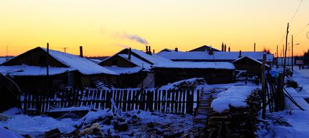 Sunset at Village Stock Photo