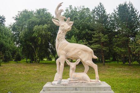 Deer carving sculpture