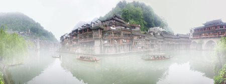 Morning fog in the ancient city of Fenghuang, Hunan, China