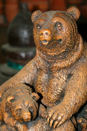 Close up of a statue of two bears. Imagens