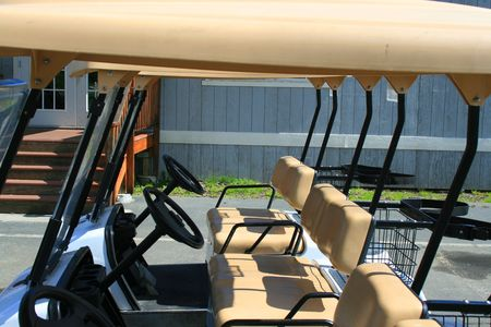 Row of the golf carts in a golf club. Stock Photo - 2744943