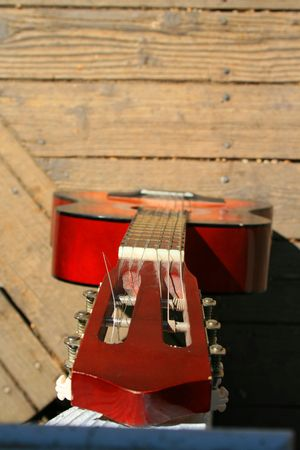 Close up of a vivid classic guitar. photo