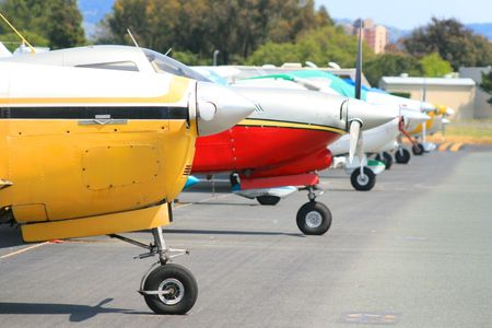 propellers: Row of Airplanes Stock Photo