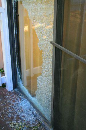 Broken Glass Door Stock Photo
