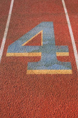 Number Four on a Running Lane Stock Photo - 3667727
