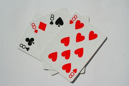 eights: Cerca de cuatro ochos en un fondo blanco.