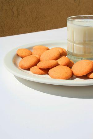 Vanilla Cookies and a Glass of Milk Stock fotó