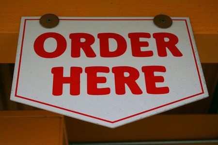 order here: Order Here Sign Stock Photo