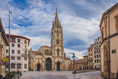 Oviedo, Spain - 01.16.2020: Cathedral of San Salvador of Oviedo