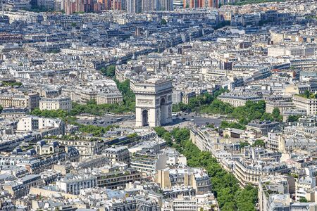 Paris Arch of Triumph aerial view