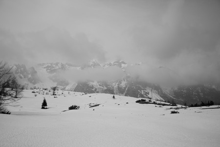 black and white view of great italian mountains photo