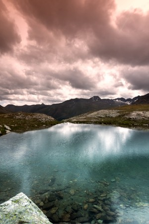 magic dreamy panoramic landscape in a cloudy day in mountain photo