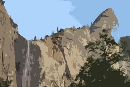 Graphic of a waterfall in Yosemite National Park