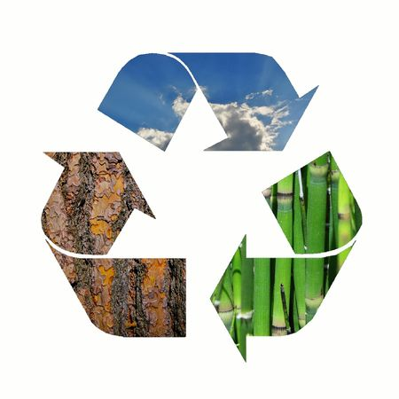 Recycle logo with bamboo, bark and the sky Stock Photo