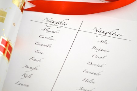 Santa's lijst van wie is stout en wie is aardig Stockfoto - 8094026