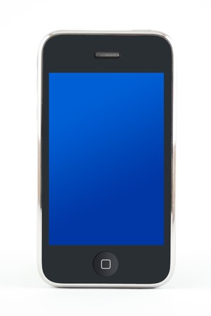 Smartphone with a blue screen on a white background