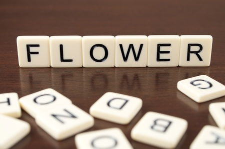 FLOWER spelled from letter tiles on a wooden background