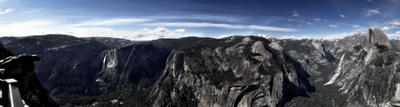 Half Dome, Clouds Rest, Yosemite Falls and the Valley viewed from Glacier Point Stock Photo