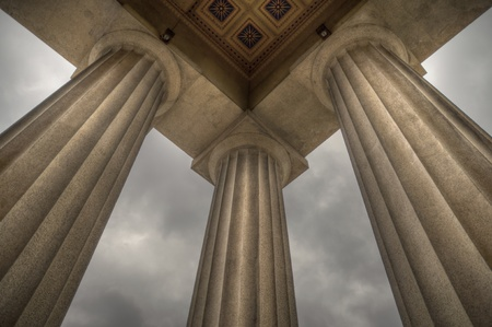 Columns supporting a replica of the Parthenon in Nashville, TN Stock Photo