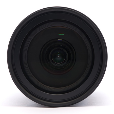 Front of a digital single lens reflex camera lens on a white background Stock Photo