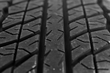 Macro shot of a car tire tread photo