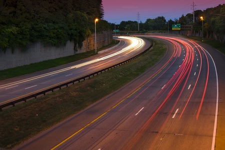 Long exposure of a busy highway at dusk
