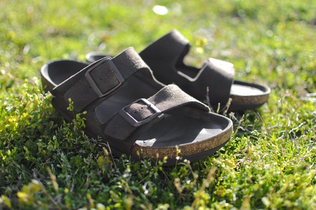 Classic pair of brown leather sandals on green grass