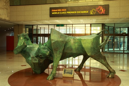 Seoul, South Korea - February 21 2011: Bear and bull statue in Korea Stock Exchange