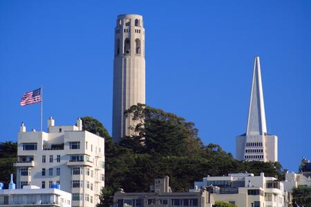 coit: Coit Tower and Transamerica Building, San Francisco Editorial