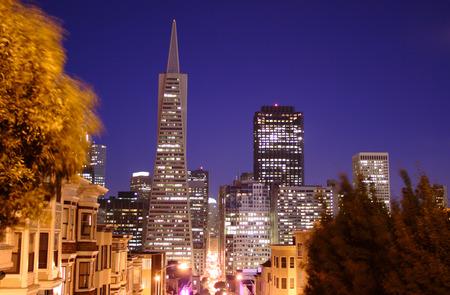 transamerica: Downtown San Francisco at night