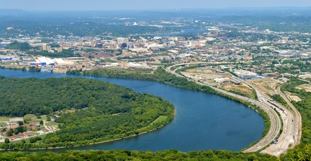 tennesse: Panorama de Chattanooga, Tennessee desde la montaña Lookout