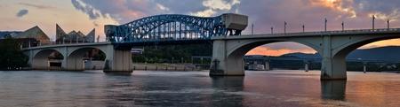 pedestrian bridges: Market Street Bridge in Chattanooga, Tennessee at Sunset Stock Photo