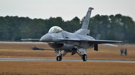F-16 ViperFighting Falcon on a Runway Editorial