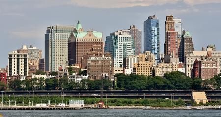 The skyline of Brooklyn Heights from the East River in New York City