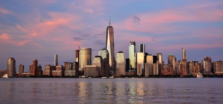 Skyline of New York City with Purple Sunset