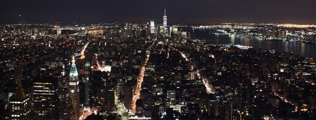 The skyline of midtown and downtown New York City at night Stok Fotoğraf