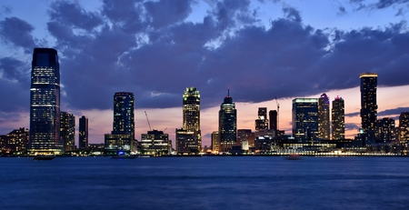Skyline of  Jersey City at Sunset Stok Fotoğraf