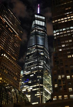 夜のワンワールドトレードセンター 写真素材