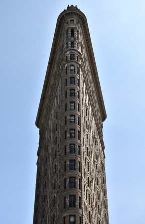 The front of the iconic Flatiron Building in downtown Manhattan.