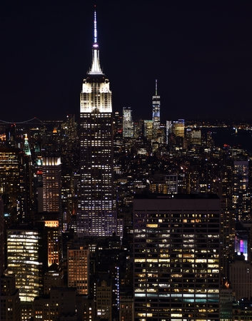 Empire State Building and Manhattan Skyline at Night Stok Fotoğraf