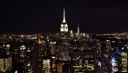 Skyline of Manhattan at Night Stok Fotoğraf