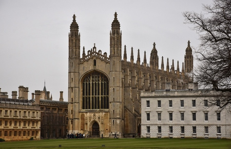 The historic Kings College, which is part of the University of Cambridge in Cambridge, England on the River Cam