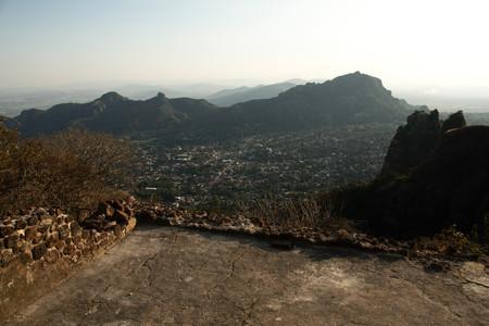 Tepoztlan, Morelos, Mexico - 2013: Panoramic view form Tepozteco mountain. Editorial