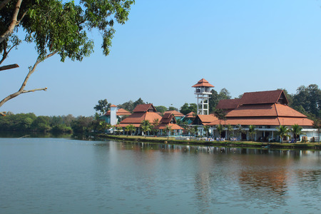 brandish: view of garden park in Chiang mai, Thailand.