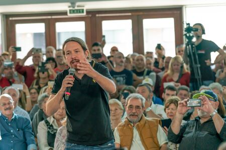 Palma de Mallorca, Spain / November 01, 2019: Political meeting of the leader of the political party Podemos, Pablo Iglesias speaking at the Palacio de Congresos, ahead of the November 10 elections Redakční