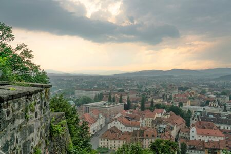 Ljubljana capital of Slovenia view, after a storm