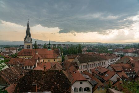Ljubljana sunset city view, after a storm
