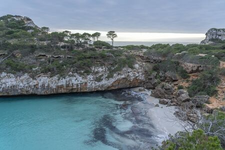 Seascape in Es Calo des Moro, a famous beach in Santanyi, Majorca, without people.