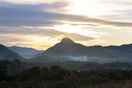 Mountain silhouette landscape at beautiful sunset, Picos de Europa region, in Principado de Asturias, northern Spain.